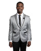 Shawl Lapel Dinner Jacket in Silver with Black Small Paisley Neat Pattern Tuxedo Rental - Rainwater's Men's Clothing and Tuxedo Rental