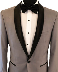 Silver With Black Shawl Dinner Jacket Tuxedo Rental