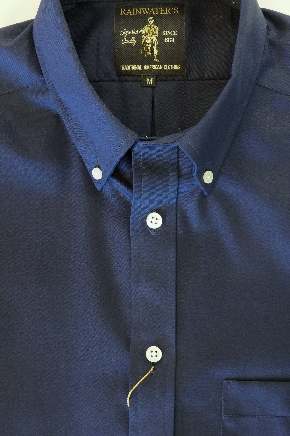 Solid Navy Twill Blend Wrinkle Free Button Down Sport Shirt by Rainwater's - Rainwater's
