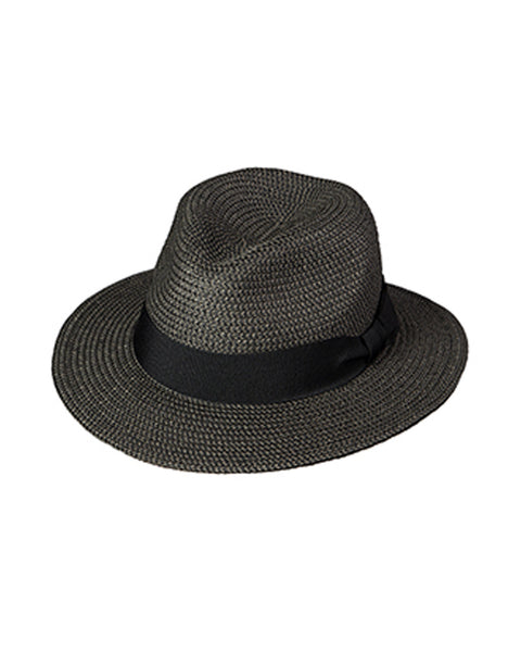 Straw Fedora with 2.5 inch brim in Marled Black - Rainwater's Men's Clothing and Tuxedo Rental