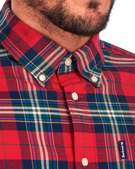Barbour Highland Check 11 Plaid Button Down Shirt Tailored Fit in Crimson Tartan - Rainwater's Men's Clothing and Tuxedo Rental