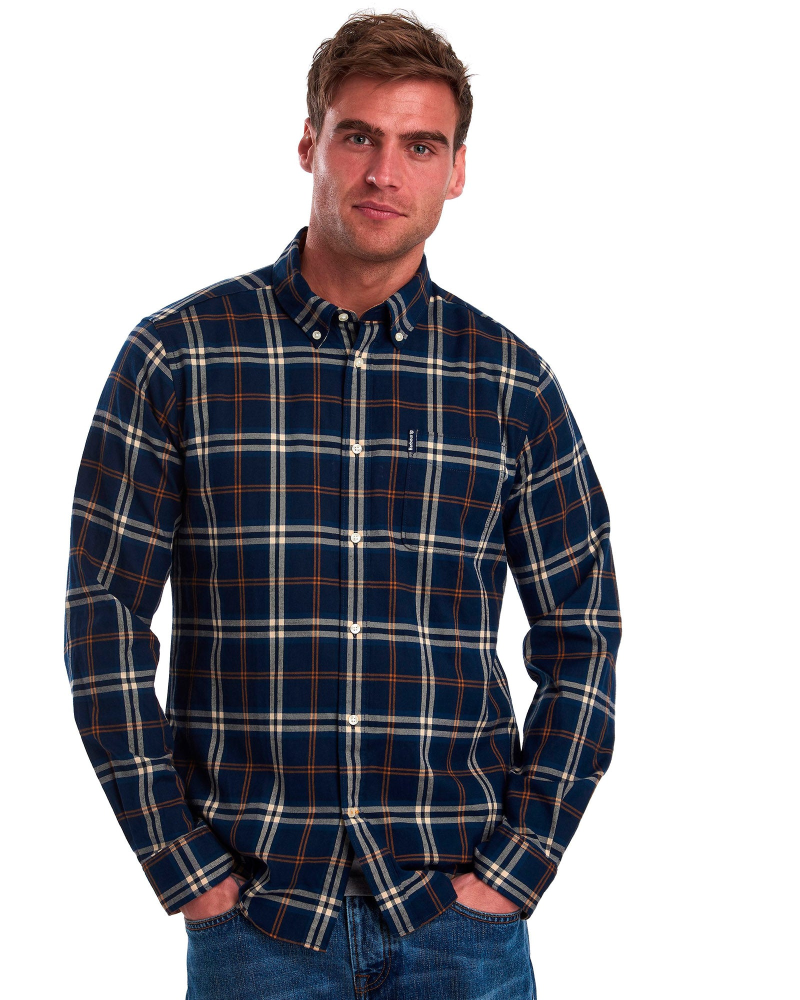 Barbour Highland Check 20 Tailored Fit Button down Collar In Blue - Rainwater's