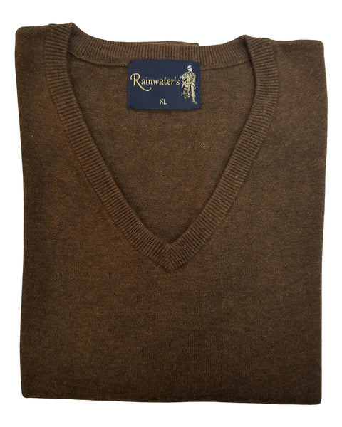 V-Neck Sweater Vest in Brown Heather Cotton Blend