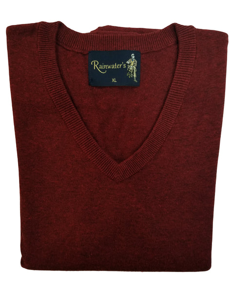 V-Neck Sweater Vest in Burgundy Heather Cotton Blend