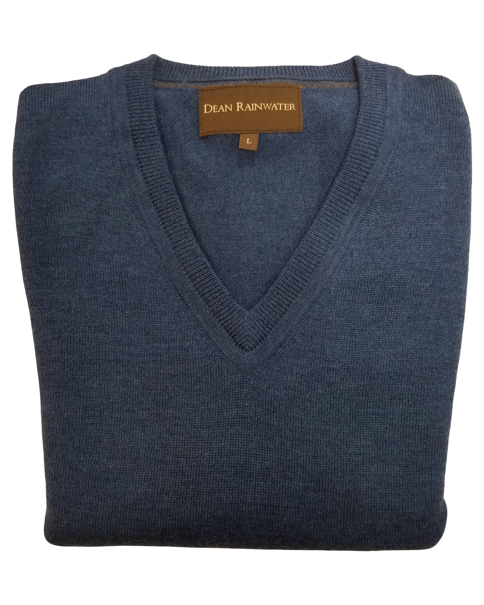 V-Neck Sweater in Atlantic Blue Extra Fine Merino Wool - Rainwater's Men's Clothing and Tuxedo Rental