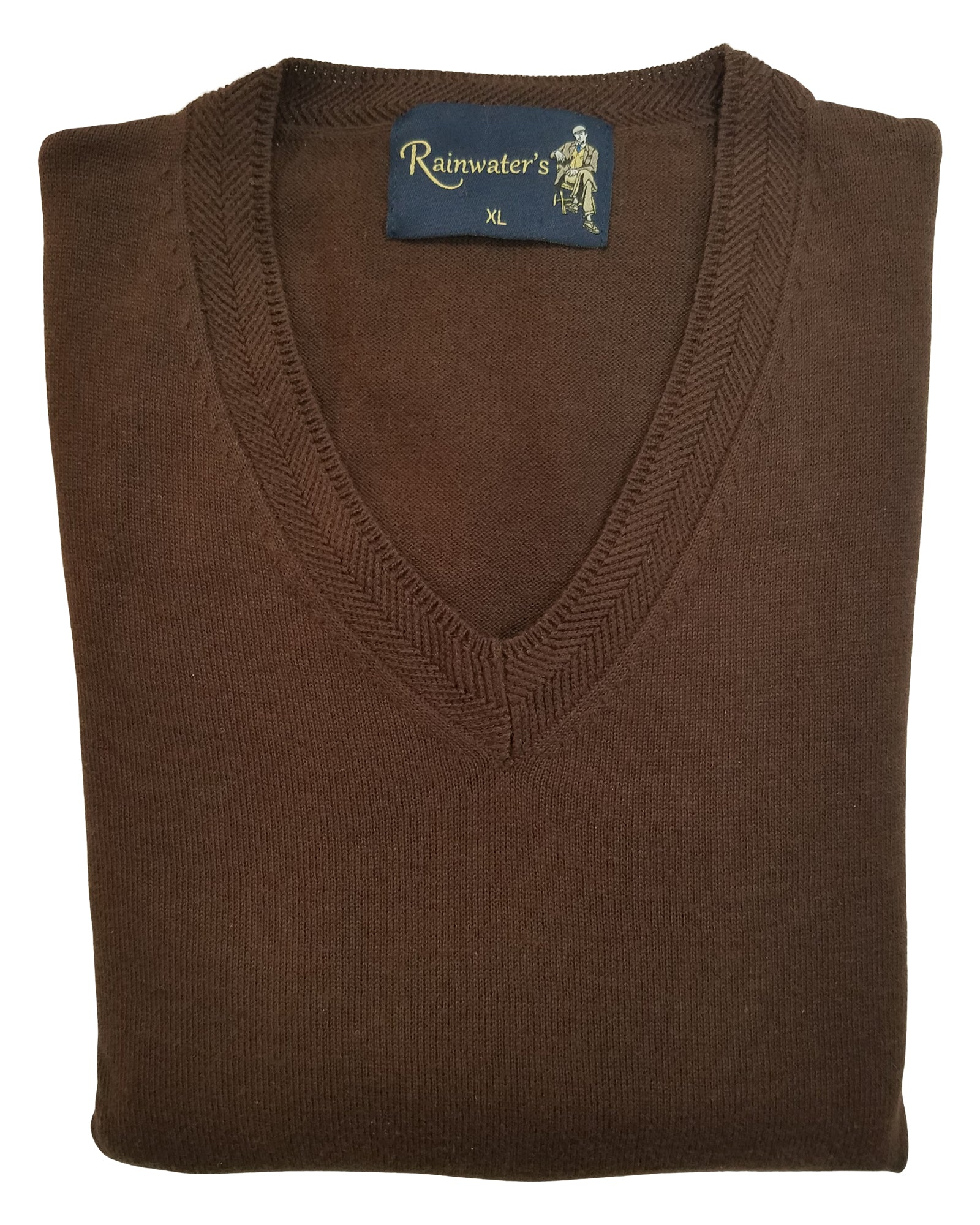 V-Neck Sweater in Brown Cotton Blend - Rainwater's Men's Clothing and Tuxedo Rental
