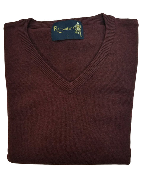 V-Neck Sweater in Cabernet Cotton Blend