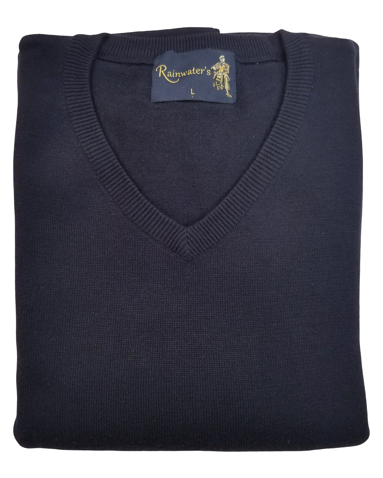 V-Neck Sweater in Navy Cotton Blend - Rainwater's