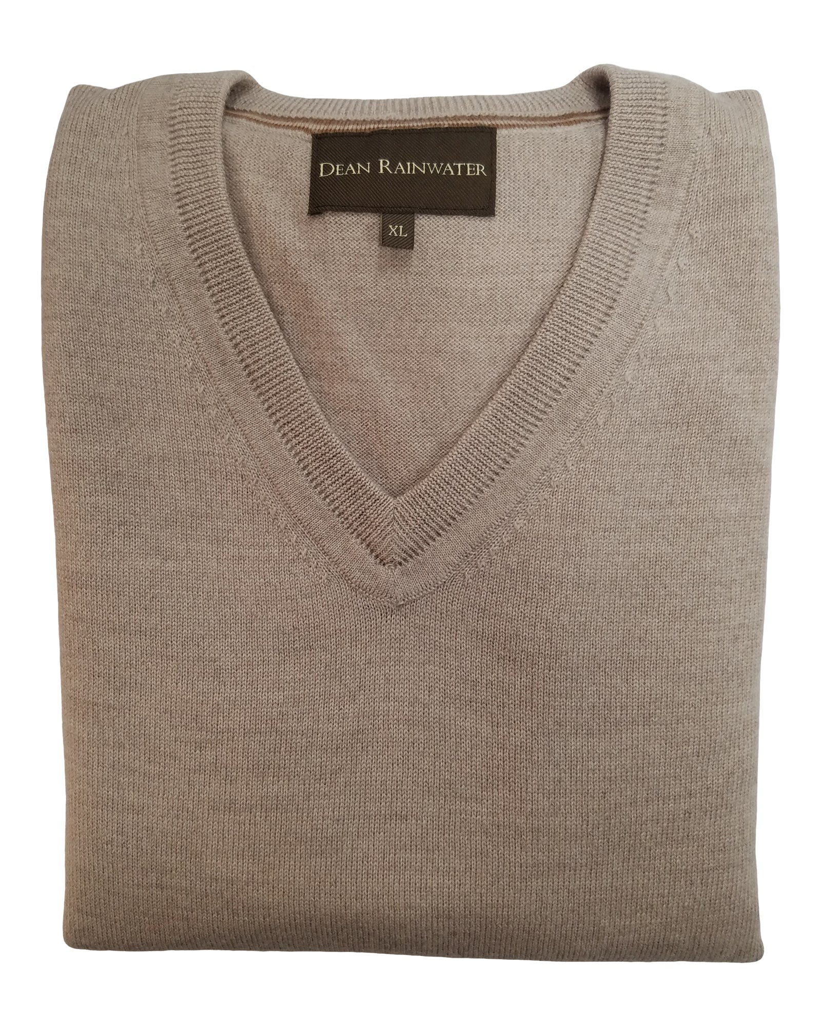 V-Neck Sweater in Oatmeal Extra Fine Merino Wool - Rainwater's Men's Clothing and Tuxedo Rental