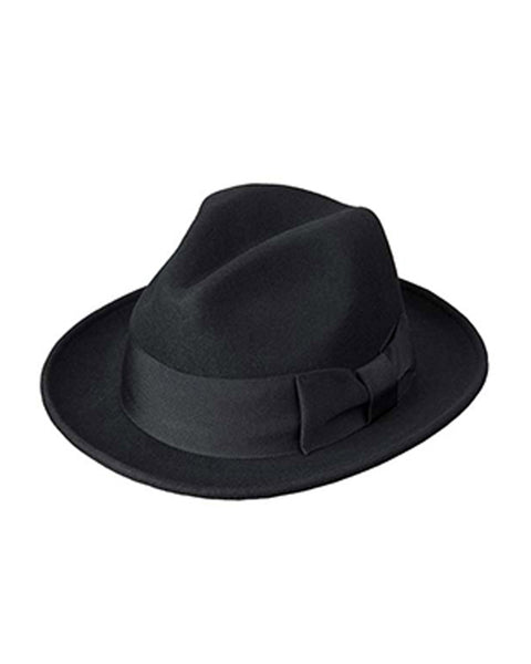 Wool Felt Fefora with 2.75 inch Brim in Black - Rainwater's Men's Clothing and Tuxedo Rental
