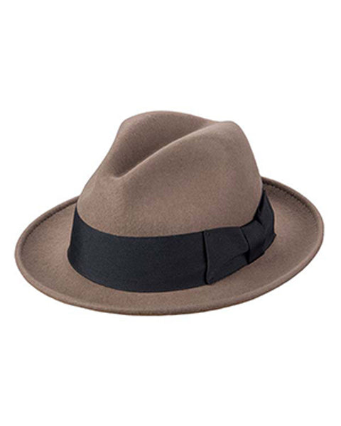 Wool Felt Fefora with 2.75 inch Brim in Taupe - Rainwater's Men's Clothing and Tuxedo Rental