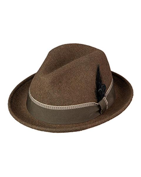 Wool Felt Fefora with 2 inch Brim in Brown Bark Heather - Rainwater's Men's Clothing and Tuxedo Rental