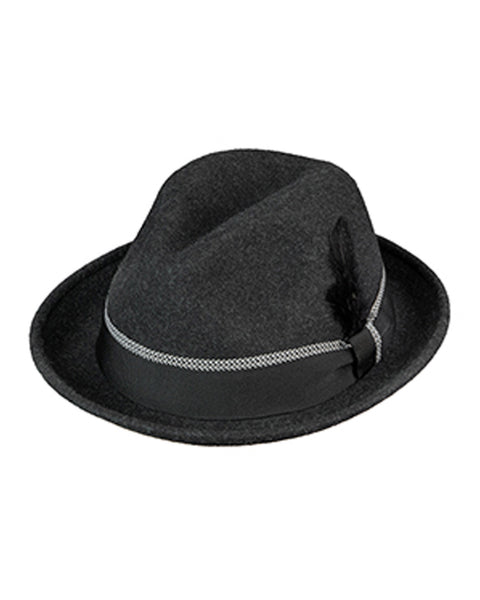 Wool Felt Fefora with 2 inch Brim in Charcoal Heather - Rainwater's Men's Clothing and Tuxedo Rental