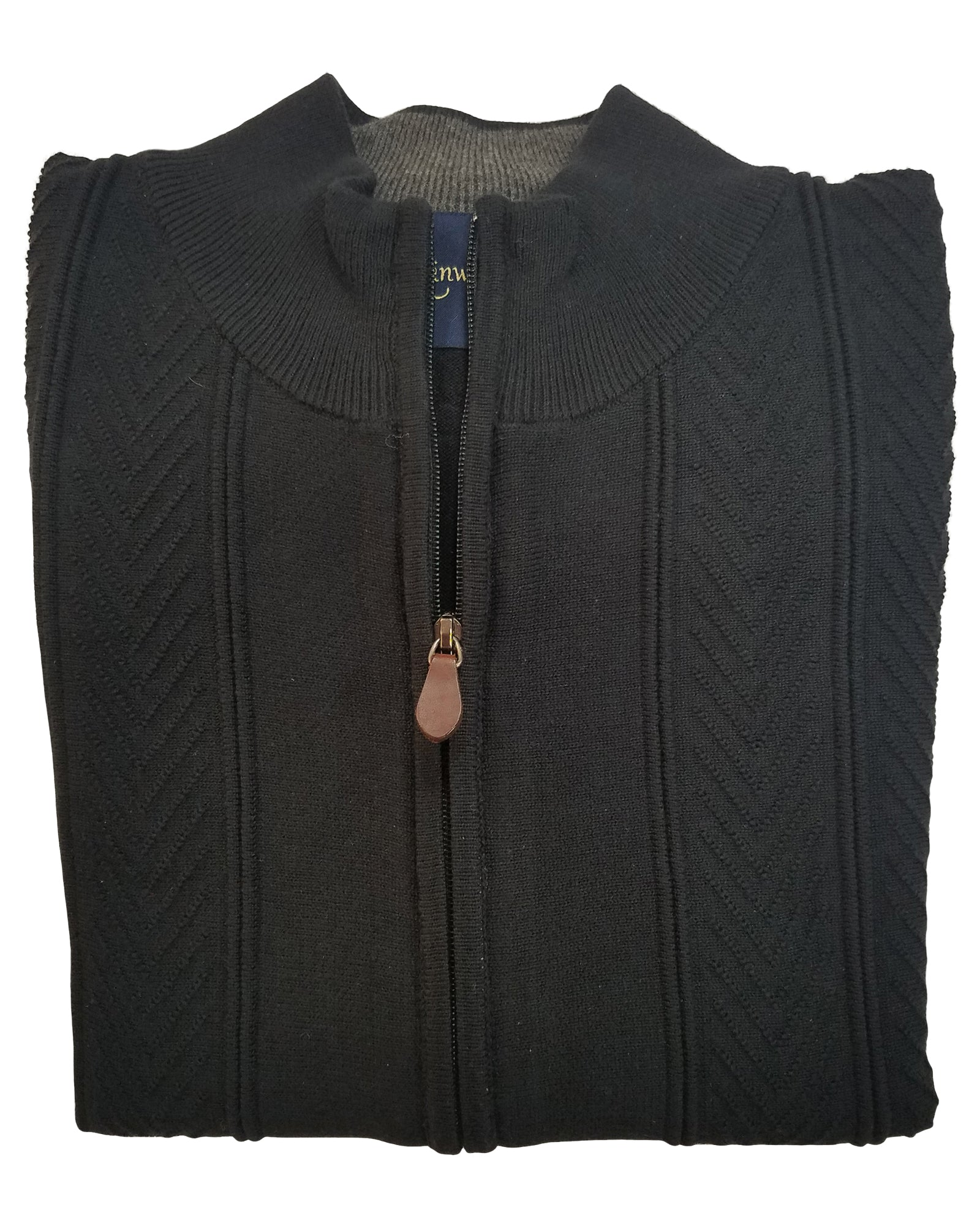 Zip Front Cardigan Sweater In Black Cotton Blend Cable Knit - Rainwater's Men's Clothing and Tuxedo Rental