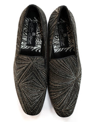 After Midnight Geometric Glitter Formal Loafer in Black & Silver - Rainwater's Men's Clothing and Tuxedo Rental