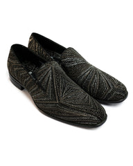 After Midnight Geometric Glitter Formal Loafer in Black & Silver - Rainwater's