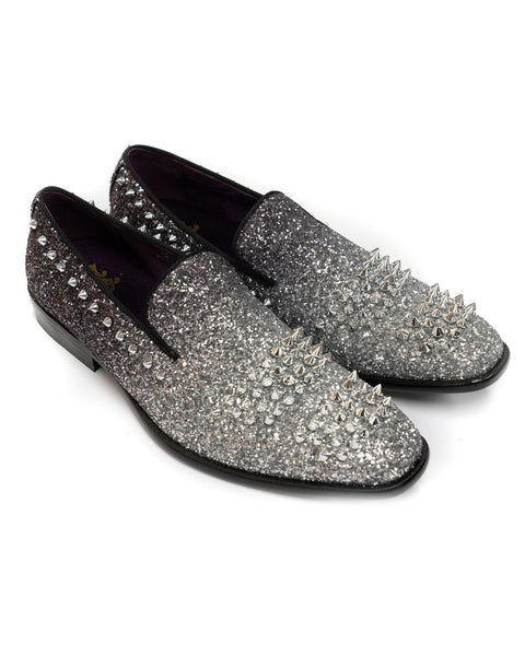 After Midnight Two Tone Glitter Spike Formal Loafer in Black & Silver - Rainwater's Men's Clothing and Tuxedo Rental