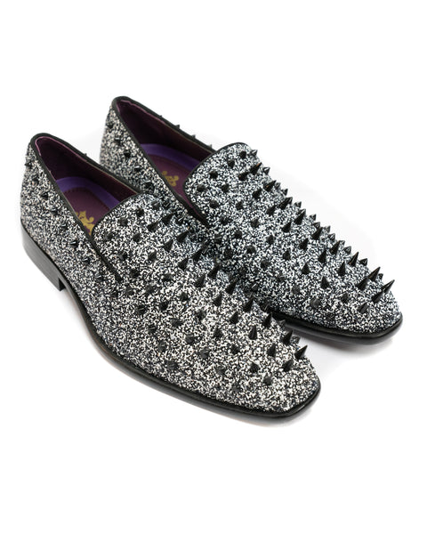 After Midnight Glitter Spike Formal Loafer in Black & White - Rainwater's
