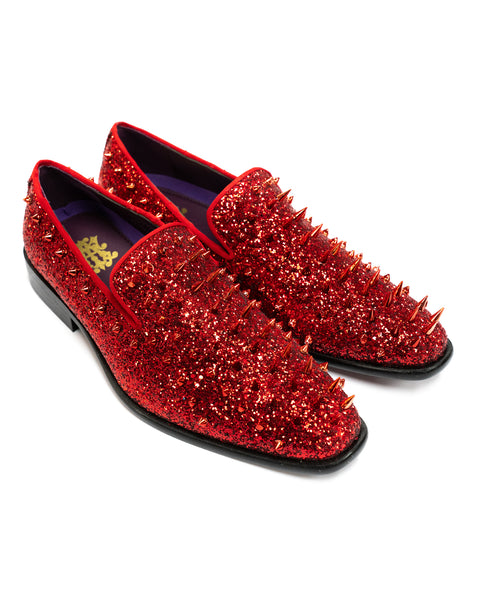 After Midnight Glitter Spike Formal Loafer in Fire Red - Rainwater's