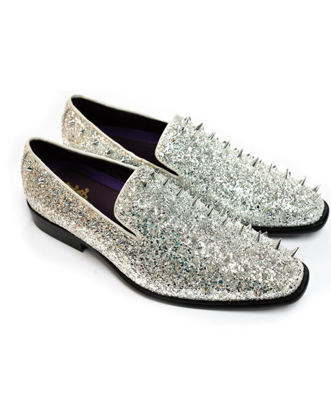 After Midnight Glitter Spike Formal Loafer in Silver-Multi - Rainwater's