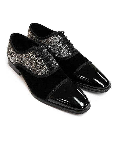 After Midnight Glitter Formal Lace Up Captoe Shoe in Black & Silver - Rainwater's