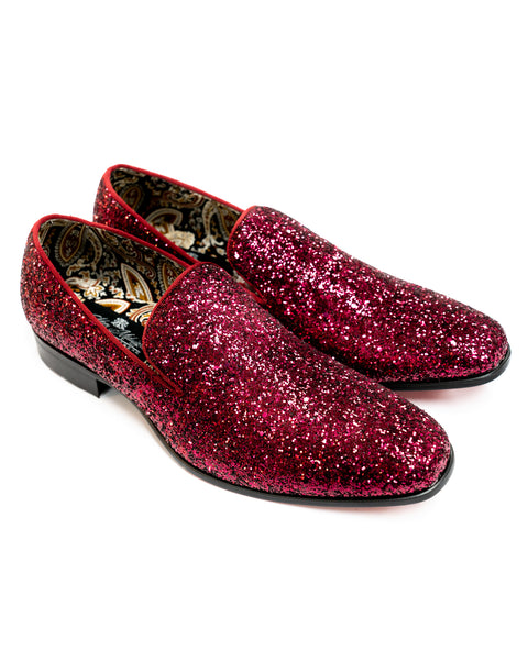 After Midnight Glitter Formal Loafer in Burgundy - Rainwater's