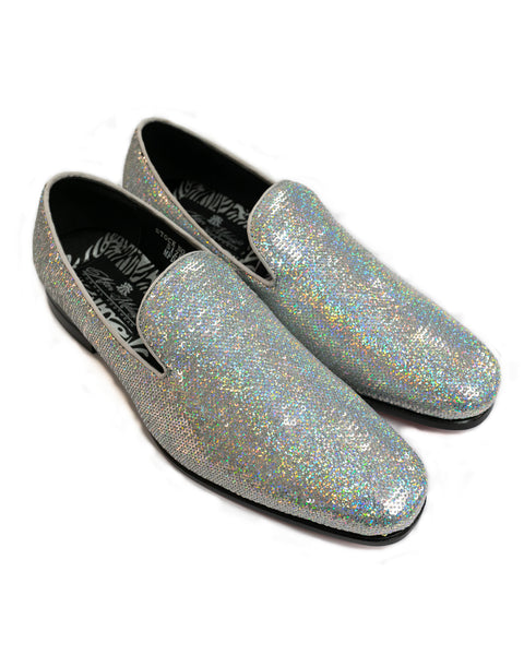 After Midnight Sequin Formal Loafer in Silver Pearl - Rainwater's