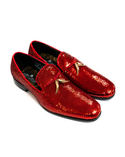 After Midnight Tassel Sequin Formal Loafer in Cherry - Rainwater's