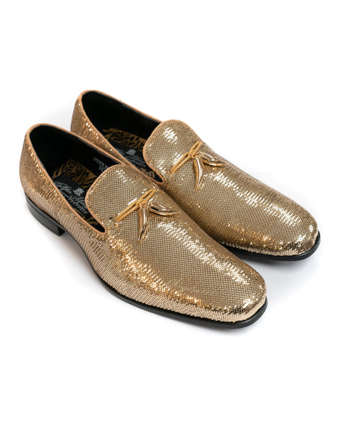 After Midnight Tassel Sequin Formal Loafer in Gold - Rainwater's Men's Clothing and Tuxedo Rental