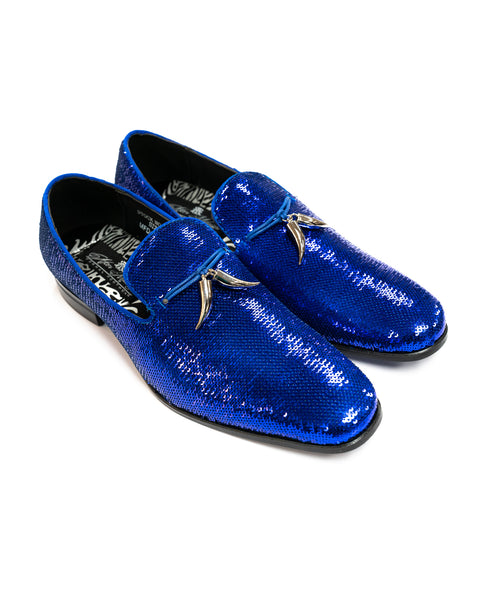 After Midnight Tassel Sequin Formal Loafer in Royal Blue - Rainwater's
