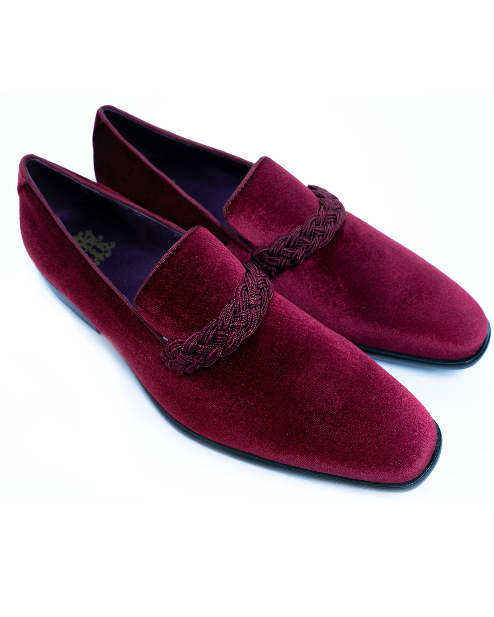 After Midnight Velour with Braid Formal Loafer in Wine - Rainwater's Men's Clothing and Tuxedo Rental