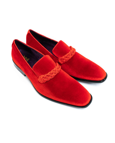 After Midnight Velour with Braid Formal Loafer in Fire Red - Rainwater's Men's Clothing and Tuxedo Rental