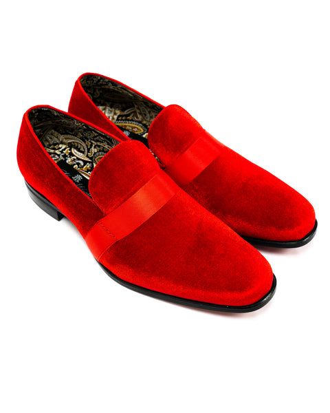 After Midnight Ribbon Band Formal Loafer in Fire Red - Rainwater's Men's Clothing and Tuxedo Rental