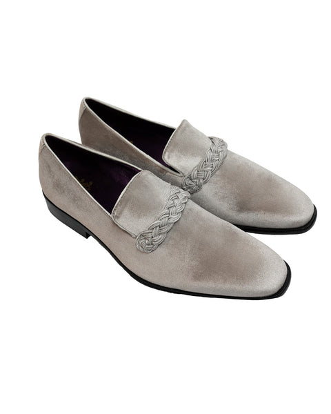 After Midnight Velour with Braid Formal Loafer in Silver - Rainwater's