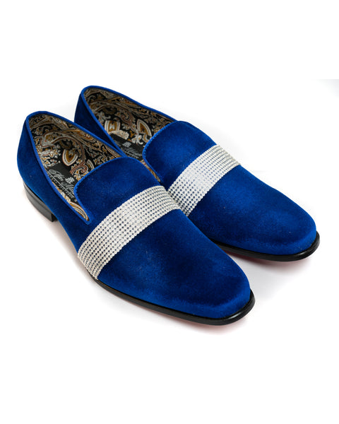 After Midnight Velour with Diamond Band Formal Loafer in Royal Blue - Rainwater's Men's Clothing and Tuxedo Rental