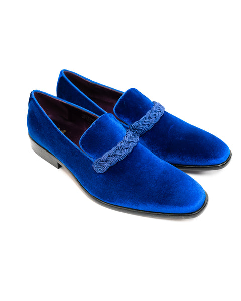After Midnight Velour with Braid Formal Loafer in Royal Blue - Rainwater's Men's Clothing and Tuxedo Rental
