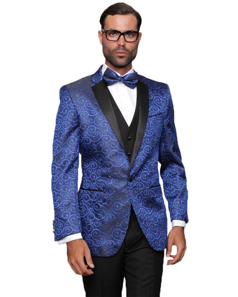 Blue Swirl Dinner Jacket Tuxedo Rental - Rainwater's Men's Clothing and Tuxedo Rental
