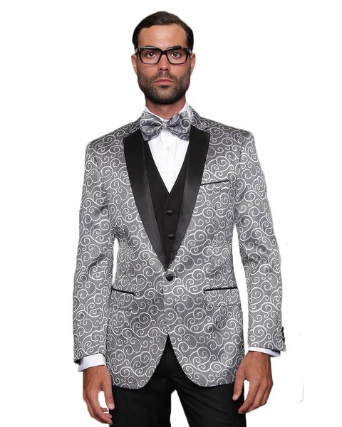 Light Grey Swirl Dinner Jacket Tuxedo Rental - Rainwater's