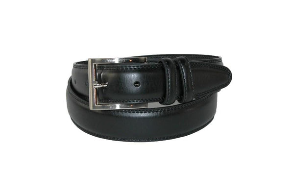 Black Leather Padded Dress Belt With Double Keeper - Rainwater's Men's Clothing and Tuxedo Rental