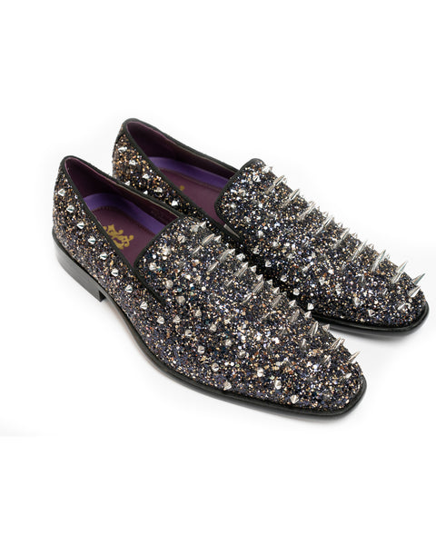 After Midnight Glitter Spike Formal Loafer in Black-Multi - Rainwater's