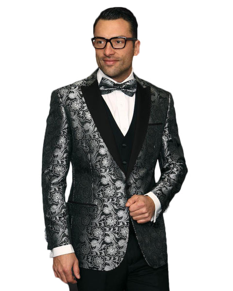 Black & Grey Paisley Dinner Jacket Tuxedo Rental - Rainwater's
