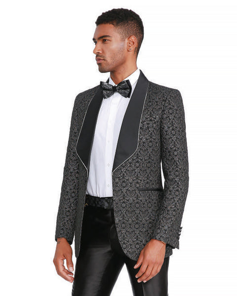 Black Pearl Textured Shawl Dinner Jacket Tuxedo Rental - Rainwater's Men's Clothing and Tuxedo Rental