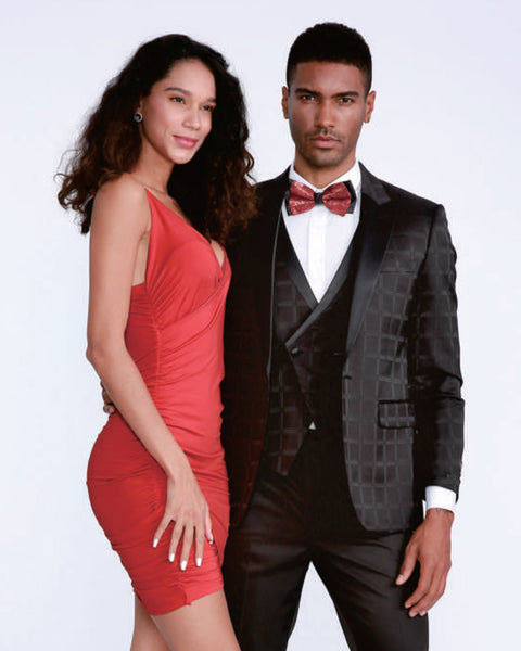 Black Plaid Peak lapel Dinner Jacket Tuxedo Rental - Rainwater's Men's Clothing and Tuxedo Rental