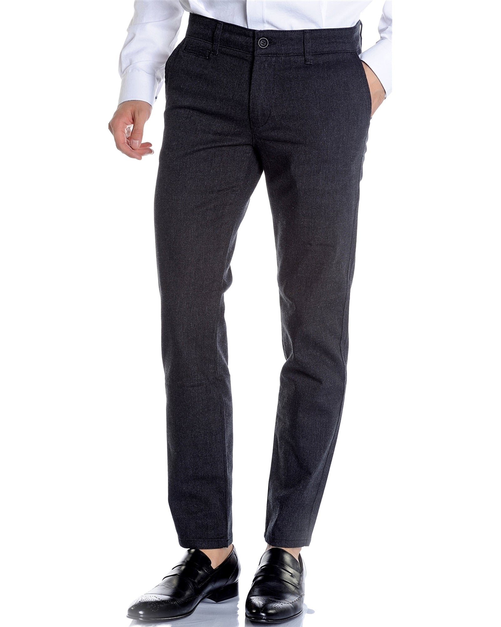 Black Slim Fit Stretch Casual Slacks - Rainwater's Men's Clothing and Tuxedo Rental