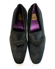 After Midnight Velour with Braid Formal Loafer in Black - Rainwater's Men's Clothing and Tuxedo Rental