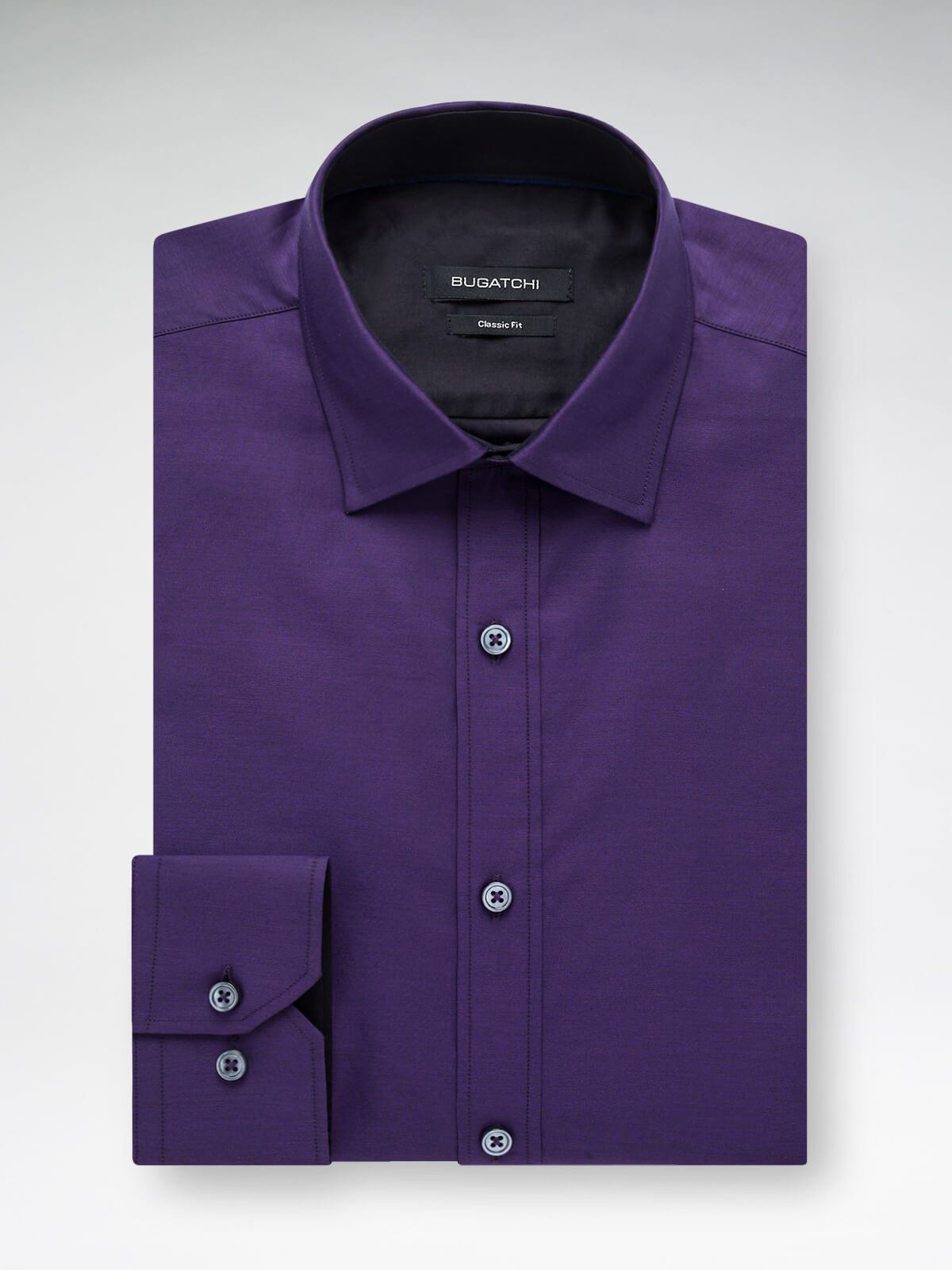 Bugatchi Plum Solid Classic Fit Sport Shirt - Rainwater's Men's Clothing and Tuxedo Rental