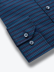 Bugatchi Blue Tonal Houndstooth Classic Fit - Rainwater's Men's Clothing and Tuxedo Rental