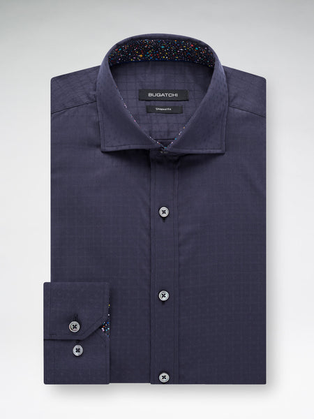 Bugatchi Navy Long Sleeved Tonal Solid Cotton Shirt - Rainwater's Men's Clothing and Tuxedo Rental