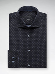 Bugatchi Charcoal Neat Print Classic Fit - Rainwater's Men's Clothing and Tuxedo Rental