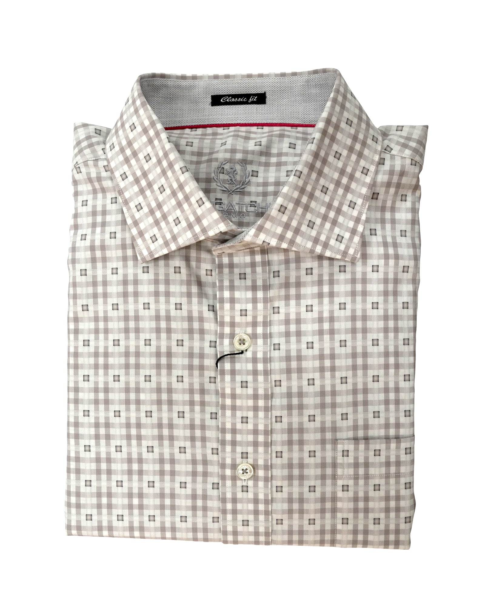 Bugatchi Platinum & White Check Sport Shirt - Rainwater's Men's Clothing and Tuxedo Rental